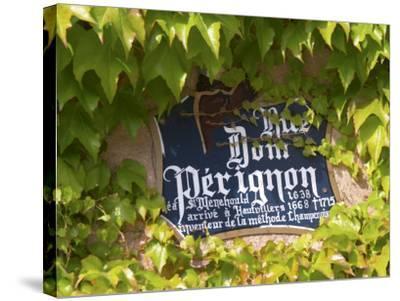 Street Sign Rue Dom Perignon, Inventor of Champagne Method, Vallee De La Marne, Ardennes, France-Per Karlsson-Stretched Canvas Print
