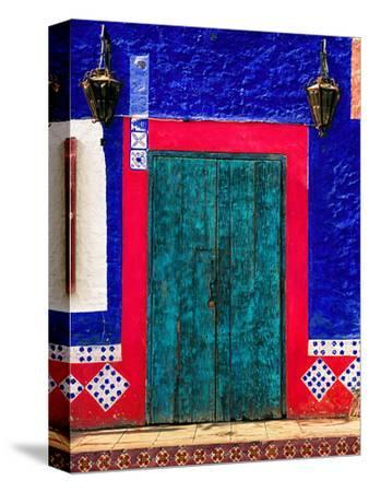 Detail of Colorful Wooden Door and Step, Cabo San Lucas, Mexico-Nancy & Steve Ross-Stretched Canvas Print