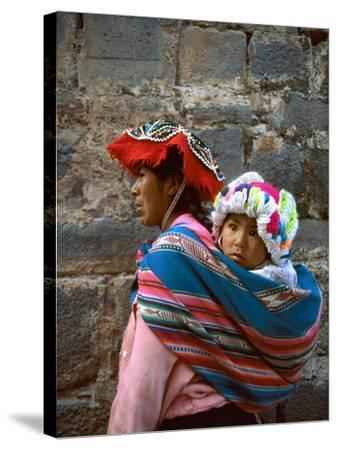 Mother Carries Her Child in Sling, Cusco, Peru-Jim Zuckerman-Stretched Canvas Print