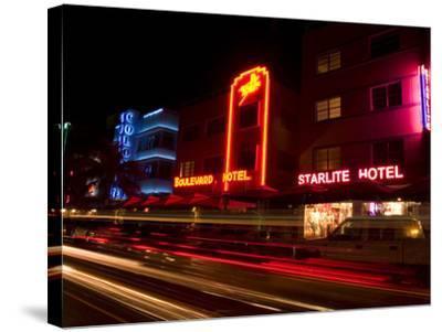 Nighttime Traffic on Ocean Drive, Art Deco Hotels, South Beach, Miami, Florida, USA-Nancy & Steve Ross-Stretched Canvas Print