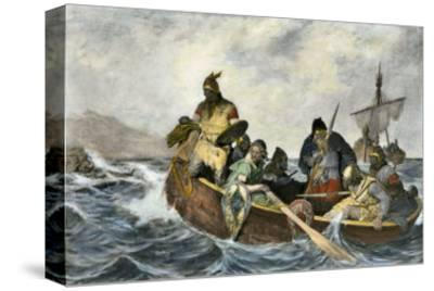 Leif Erikssen Off the Coast of Vineland in a Viking Landing Boat--Stretched Canvas Print