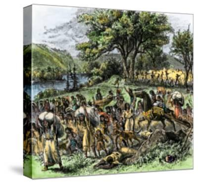 Battle of Bad Axe in Wisconsin, Ending the Black Hawk War, c.1832--Stretched Canvas Print