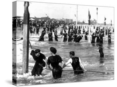 Coney Island Surf Crowd-William H. Rau-Stretched Canvas Print