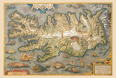 Map of Iceland-Abraham Ortelius-Stretched Canvas Print