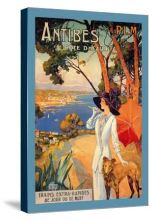 Antibes, Lady in White with Parasol and Dog-David Dellepiane-Stretched Canvas Print
