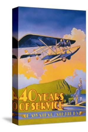 Hawaiian Airlines, 40 Years of Service-C^e^ White-Stretched Canvas Print