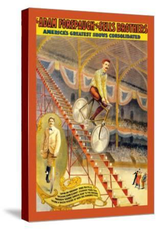 Upon an Ordinary Bicycle, A Sheer Descent: Adam Forepaugh and Sells Brothers--Stretched Canvas Print
