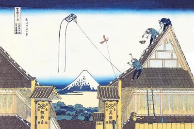 Kite Flying from Rooftop-Katsushika Hokusai-Stretched Canvas Print