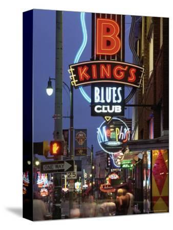 The Famous Beale Street at Night, Memphis, Tennessee, United States of America, North America-Gavin Hellier-Stretched Canvas Print