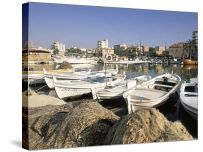 Fishing Boats in the Fishing Harbour, Tyre (Sour), the South, Lebanon, Middle East-Gavin Hellier-Stretched Canvas Print