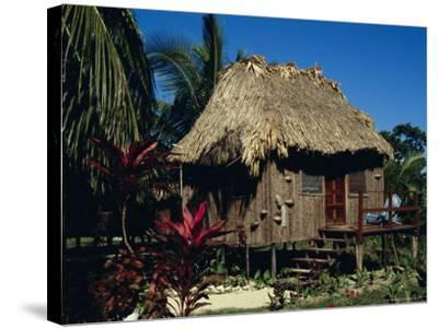 Typical Thatched Wooden Hut on the Island, Caye Caulker, Belize, Central America-Christopher Rennie-Stretched Canvas Print