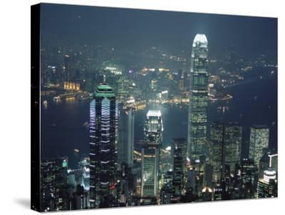 Two Ifc Building on Right and Skyline at Night, from Hong Kong Island, Hong Kong, China, Asia-Amanda Hall-Stretched Canvas Print