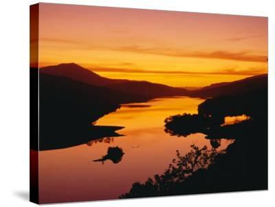 Queen's View at Sunset, Pitlochry, Tayside, Scotland, UK, Europe-Roy Rainford-Stretched Canvas Print