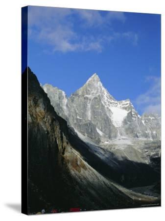 Kya Jo Ri Mountain from Machermo, Machermo, Himalayas, Nepal, Asia-Alison Wright-Stretched Canvas Print