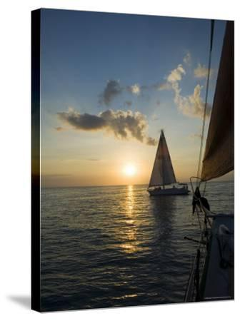 Sailboats at Sunset, Key West, Florida, United States of America, North America-Robert Harding-Stretched Canvas Print