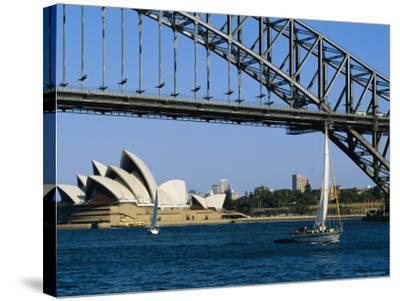Opera House and Harbour Bridge, Sydney, Australia-Fraser Hall-Stretched Canvas Print
