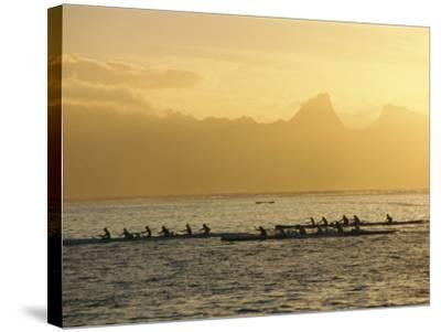 Boats at Sea, French Polynesia-Sylvain Grandadam-Stretched Canvas Print