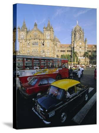 Traffic in Front of the Station, Victoria Railway Terminus, Mumbai, Maharashtra State, India-Gavin Hellier-Stretched Canvas Print