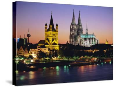 The Cathedral and River Rhine, Cologne, North Rhine Westphalia,, Germany-Gavin Hellier-Stretched Canvas Print