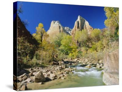 Peaks of Abraham and Isaac Tower Above the Virgin River, Utah, USA-Ruth Tomlinson-Stretched Canvas Print