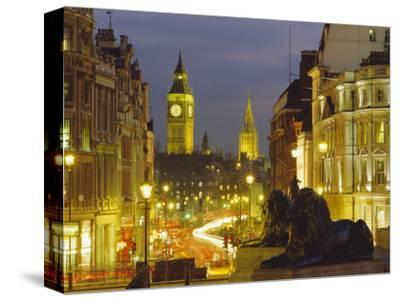 Evening View from Trafalgar Square Down Whitehall with Big Ben in the Background, London, England-Roy Rainford-Stretched Canvas Print