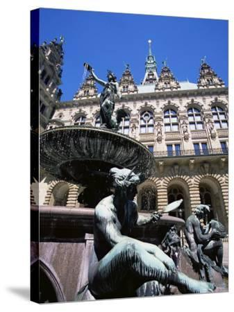 Fountain in the Courtyard of the Hamburg City Hall, Hamburg, Germany, Europe-Yadid Levy-Stretched Canvas Print