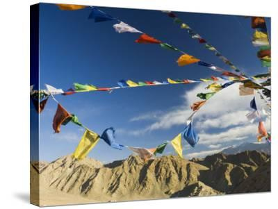 Prayer Flags on the Peak of Victory, Leh, Ladakh, Indian Himalayas, India, Asia-Jochen Schlenker-Stretched Canvas Print