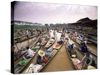 Floating Market, Inle Lake, Shan State, Myanmar (Burma), Asia-Colin Brynn-Stretched Canvas Print