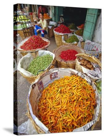 Chilies and Other Vegetables, Chinatown Market, Bangkok, Thailand, Asia-Robert Francis-Stretched Canvas Print