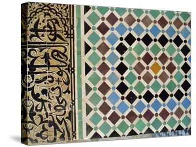 Tile Detail, Attarine Medressa, Fez, Morocco, North Africa-Bruno Morandi-Stretched Canvas Print