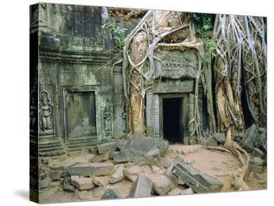 Tree Roots Overgrowng Temple, Ta Prohm, Angkor, Cambodia, Asia-Bruno Morandi-Stretched Canvas Print