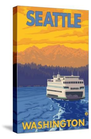 Ferry and Mountains, Seattle, Washington-Lantern Press-Stretched Canvas Print