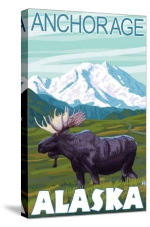 Moose Scene, Anchorage, Alaska-Lantern Press-Stretched Canvas Print