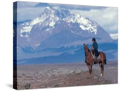 Sheep Herd and Gaucho, Patagonia, Argentina-Art Wolfe-Stretched Canvas Print
