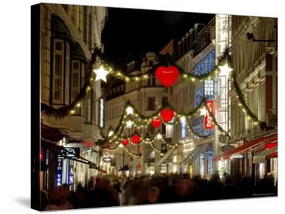 Stroget Ostergade Shopping Area at Christmas, Copenhagen, Denmark, Scandinavia, Europe-Sergio Pitamitz-Stretched Canvas Print