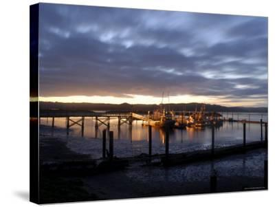 Fishing and Crabbing Boats at Low Tide after Sunset, in Dock at the End of the Road in Grayland-Aaron McCoy-Stretched Canvas Print