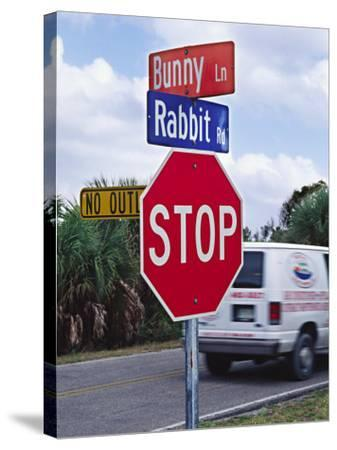 Intersection Sign on Sanibel Island, Florida, USA-Charles Sleicher-Stretched Canvas Print