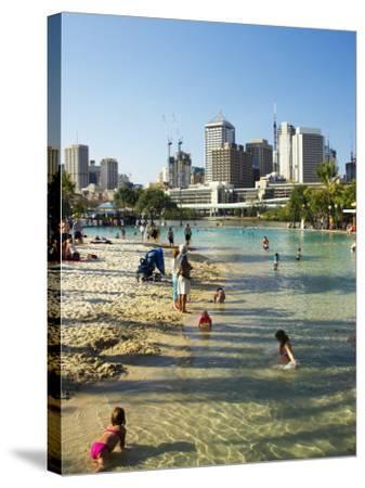 Beach, South Bank Parklands, Brisbane, Queensland, Australia-David Wall-Stretched Canvas Print