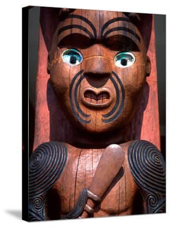 Maori Carving on Arataki Visitors Centre, Waitakere Ranges, Auckland-David Wall-Stretched Canvas Print