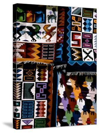 Traditional Wool Textile Blankets for Sale, Pisac Market, Peru-Cindy Miller Hopkins-Stretched Canvas Print