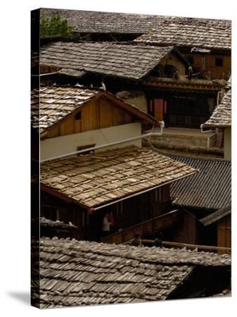 Tibetan House Rooves, Zhongdian, Deqin Tibetan Autonomous Prefecture, Yunnan Province, China-Pete Oxford-Stretched Canvas Print
