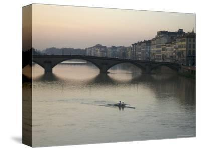 Arno River and Rowers, Florence, Italy-Brimberg & Coulson-Stretched Canvas Print