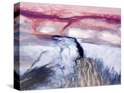Colorful River Delta in Saline Lake Natron, Rift Valley, Tanzania-Michael Fay-Stretched Canvas Print