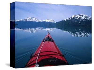 Exploring in a Sea Kayak a Calm Bay Off the Prince William Sound, Alaska-Bill Hatcher-Stretched Canvas Print