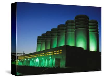 Illuminated View of the Power Plant at Dusk-Mark Thiessen-Stretched Canvas Print