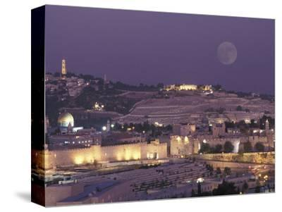 Moon over the Dome of the Rock and Mount Olives in Jerusalem, Israel-Richard Nowitz-Stretched Canvas Print