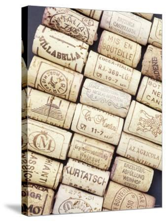 Lots of Different Wine Corks Lying Side by Side--Stretched Canvas Print