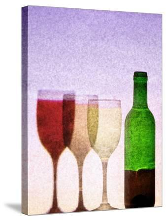 Red Wine Bottle with Three Glasses-Peter Howard Smith-Stretched Canvas Print