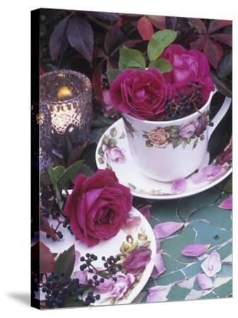 Table and Tableware Decorated with Roses-Elke Borkowski-Stretched Canvas Print