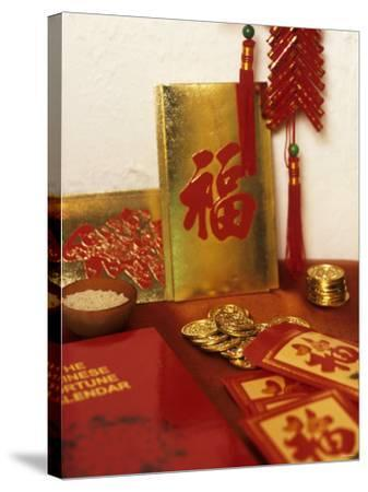 Chinese Good Luck Symbols for New Year (Gold Coins & Rice)--Stretched Canvas Print